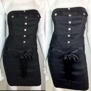Bebe Linen Faux Button Belted Bodycon Sheath Dress